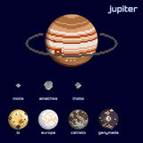 Retro minimalistic set of Jupiter and moons. Set of the Jupiter system, including moons and the planet, in a retro pixelated style. Graphics are grouped and in Stock Photos