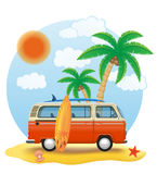 Retro minivan with a surfboard on the beach vector illustration Stock Photos