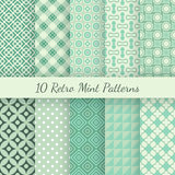 Retro mint different vector seamless patterns Royalty Free Stock Photography