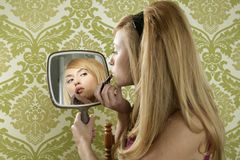 Retro mirror makeup woman lipstick vintage Royalty Free Stock Images