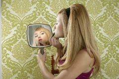 Retro mirror makeup woman lipstick vintage Stock Images