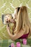 Retro mirror makeup woman lipstick vintage royalty free stock photo
