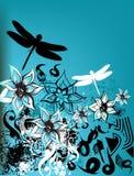 Retro- mit Blumenhintergrund Stockfoto
