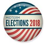 Retro mitten på terminenval röstar eller valet Pin Button/emblem Royaltyfria Foton