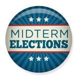 Retro mitten på terminenval röstar eller valet Pin Button/emblem vektor illustrationer