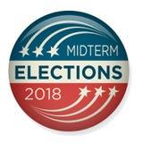 Retro mitten på terminenval röstar eller valet Pin Button/emblem Arkivbild