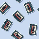 Retro mix tape stickers seamless pattern. Texture labels 80s background vector illustration