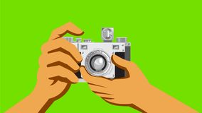 Retro 35mm Film Camera Clicking 2D Animation