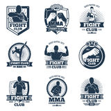 Retro mma vector emblems and labels. Fight club vintage logos. Emblem logo sport boxing and mma club illustration Royalty Free Stock Images