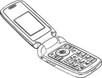 Retro Mobile Phone Line Art Sketch /eps Stock Photography