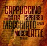 Retro mocca Coffee text grunge vintage Stock Photos