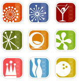 Retro Mod Icons (vector). Colorful set of icons of retro symbols; Easy-edit layered vector art stock illustration
