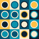 Retro mod 70s abstract geometric pattern. Retro 70s abstract geometric pattern. Vector seamless background. Mod pattern with teal and yellow circles vector illustration