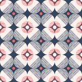Retro Mod.-Stijl Vector Naadloos Patroon met Geweven Cirkels op Donkerblauwe Achtergrond Modieuze Geometrische Grafische Druk vector illustratie