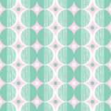 Retro Mod Style Vector Seamless Pattern with Mint and Cream Circles on Pink Background. Stylish Geometric Graphic Print. Retro Mod Style Vector Seamless Pattern Royalty Free Stock Image