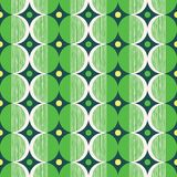 Retro Mod Style Vector Seamless Pattern with Green and Cream Circles on Dark Background. Stylish Geometric Graphic Print. Retro Mod Style Vector Seamless Pattern Stock Images