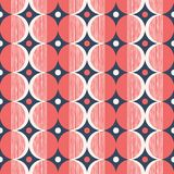 Retro Mod Style Vector Seamless Pattern with Red and Cream Circles on Navy Background. Stylish Geometric Graphic Print. Retro Mod Style Vector Seamless Pattern Stock Photography