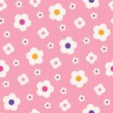 Retro Mod Stylowa Prosta Kremowa stokrotka Kwitnie na Różowego tła Wektorowym Bezszwowym wzorze Czyści Abstrakcjonistycznego Kwie ilustracji