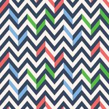 Retro Mod Vector Seamless Irregular Chevron Pattern in red, green, navy blue on cream background. Stylish Classic Print. Retro Mod Style Vector Seamless Royalty Free Stock Images