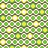 Retro Mod Vector Seamless Polka Dot Pattern in Green, Acid Yellow on Beige Background. Stylish Graphic Abstratc Print stock illustration