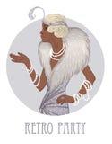 Retro moda: splendor dziewczyna lata dwudzieste amerykanina afrykańskiego pochodzenia kobieta royalty ilustracja