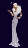Retro mode: glamourflicka av tjugotalafrikansk amerikankvinnan stock illustrationer