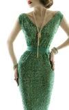 Retro modeklänning för kvinna, gnistrandepaljettkappa, eleganta kläder Arkivbilder
