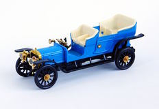 Retro model car, on white background. Model of retro car, blue on white background Royalty Free Stock Photography