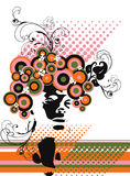 Retro model silhouette floral abstract Royalty Free Stock Photography