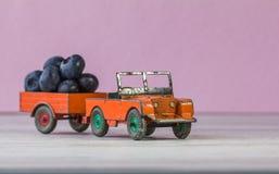 Retro modell av bilen Land Rover laden med björnbär Royaltyfri Bild