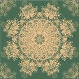 Retro modello beige e verde dell'ornamento Fotografia Stock Libera da Diritti