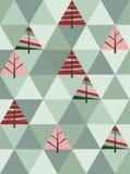 Retro modello degli alberi di Natale geometrici Fotografia Stock