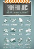 Retro modello di stile per il menu genuino dei succhi di frutta Immagine Stock