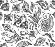 Retro modello floreale senza cuciture del fondo nel vettore Progettazione di scarabocchi di mehndi di Paisley del hennè Stampa fa Immagini Stock