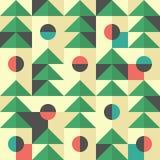 Retro modello senza cuciture con i triangoli ed i semicerchi verdi Fotografia Stock