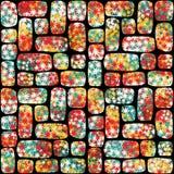 Retro modello senza cuciture con il mosaico dei fiori. Immagine Stock