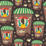 Retro modello senza cuciture con il venditore e le tazze del caffè Immagine Stock