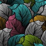 Retro modello senza cuciture con le foglie astratte di scarabocchio Fotografia Stock
