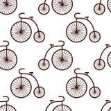 Retro modello senza cuciture della bicicletta Illustrazione d'annata di trasporto Immagine Stock Libera da Diritti