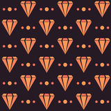 Retro modello senza cuciture scuro con i diamanti ed i punti arancio Fotografia Stock Libera da Diritti