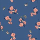Retro modello senza cuciture sui fiori d'annata della pansé di rosa di vettore con le farfalle molli e progettazione delicata per illustrazione di stock
