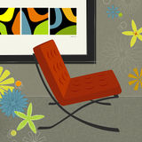 Retro-Modern Art. Retro-modern chair with framed modern art; colorful and stylized. Easy-edit layered file vector illustration