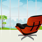 Retro-modern Chair City View. Retro-modern lounge chair with beautiful view of the city and park. Each item is grouped and whole so you can use them Stock Photos
