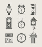 Retro and modern clock set icon Stock Photos