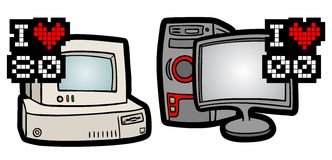 Retro and modern computers Stock Images