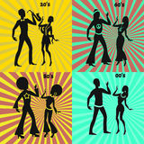 Retro and modern dancing couple Stock Images