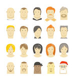 Retro and modern different people faces. Style isolated on white Royalty Free Stock Image