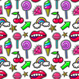 Retro modern fashion background with crystal and lips, rainbow ice cream. Fashioned print seamless pattern Stock Images