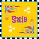 Retro modern and funky colors square halftone circles SALE banner. With black and white stripy border on yellow vector illustration