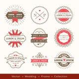 Retro modern hipster wedding logo frame badge design Royalty Free Stock Photography